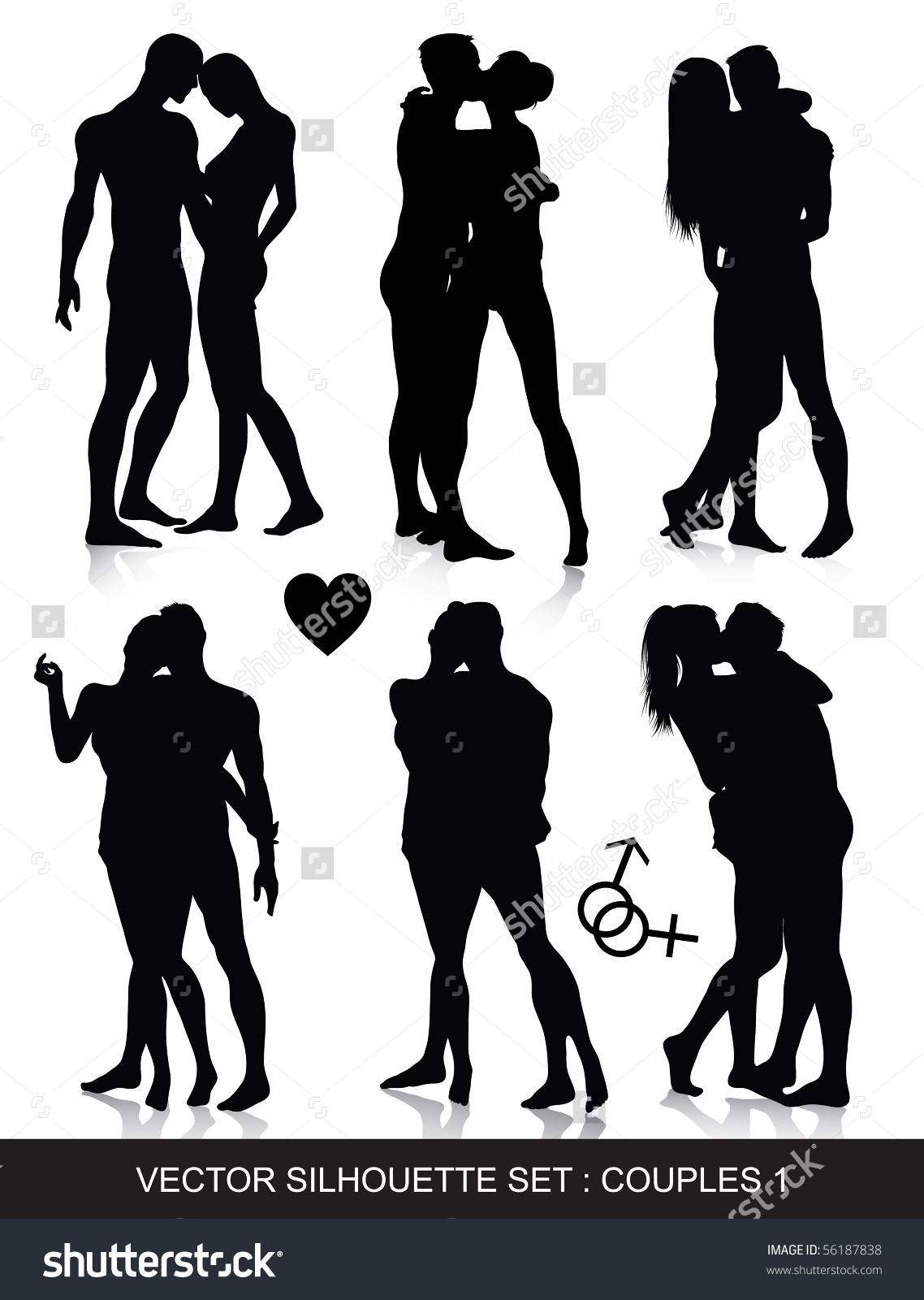 Intimate couple silhouette clipart.