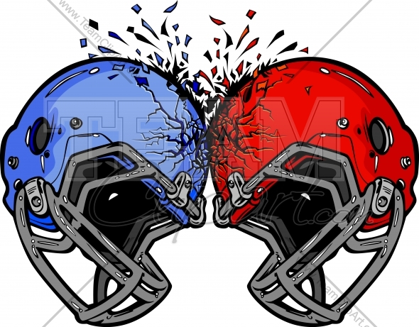 Football Helmets Smashing into Each other Vector Clipart.