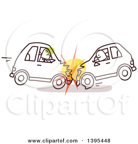 Clipart of Sketched Stick Drivers Crashing Cars into Each Other.