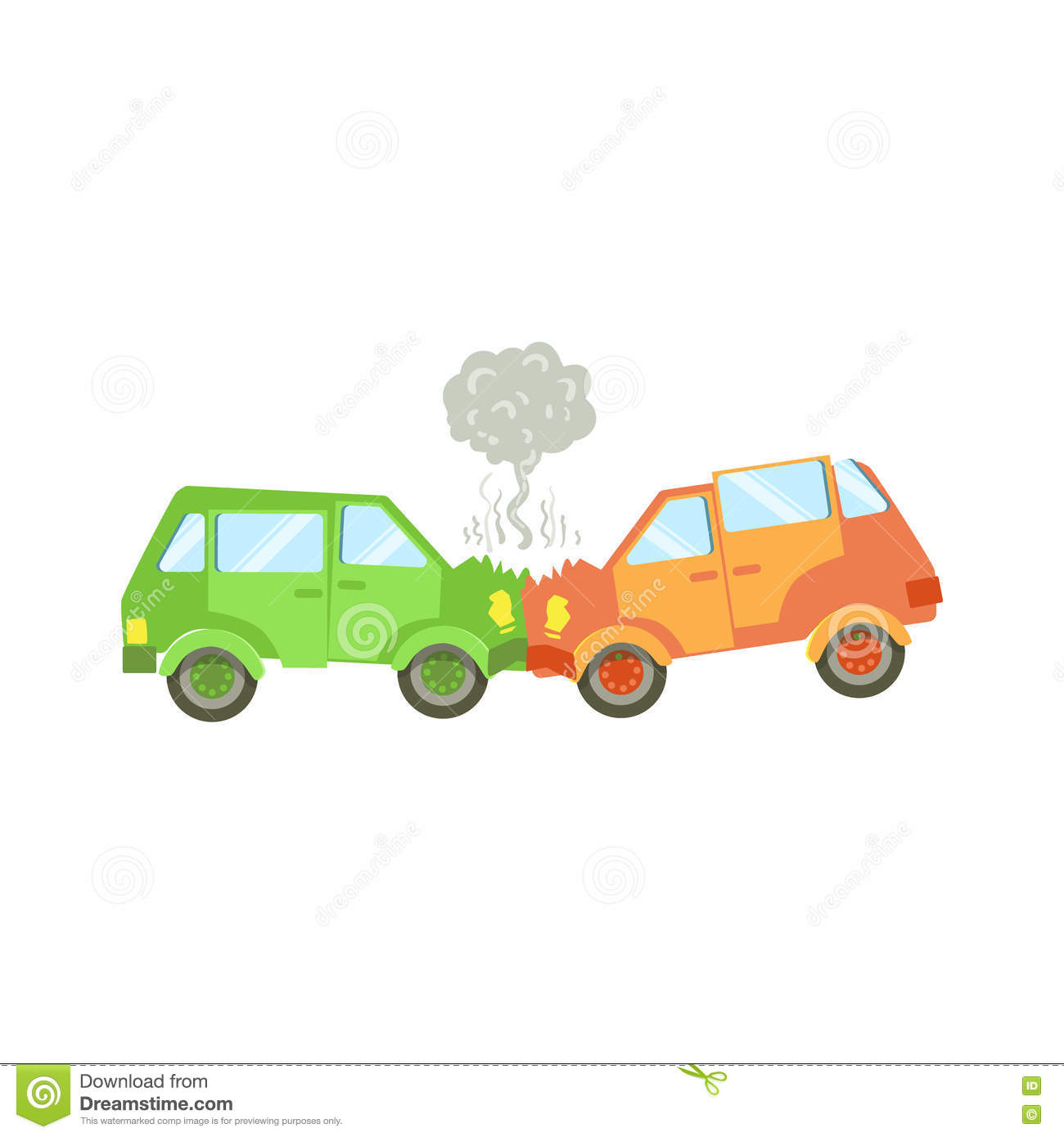 Two Cars Crushing Into Each Other Stock Vector.