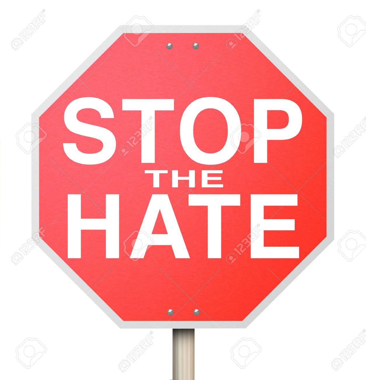 A Red Octogon Shapped Sign Reading Stop The Hate, Symbolizing.