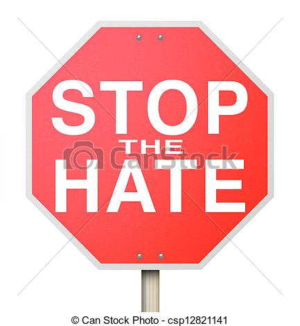 Drawing of Stop the Hate Sign.