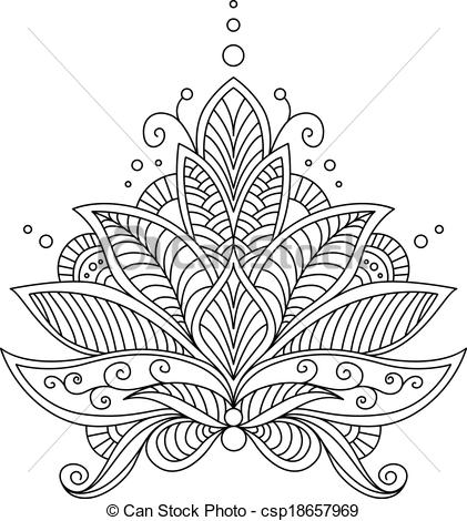 Clip Art Vector of Intricate delicate floral design motif in a.