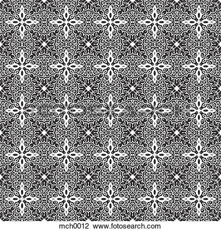 Clip Art of Intricate black and white seamless pattern mch0012.