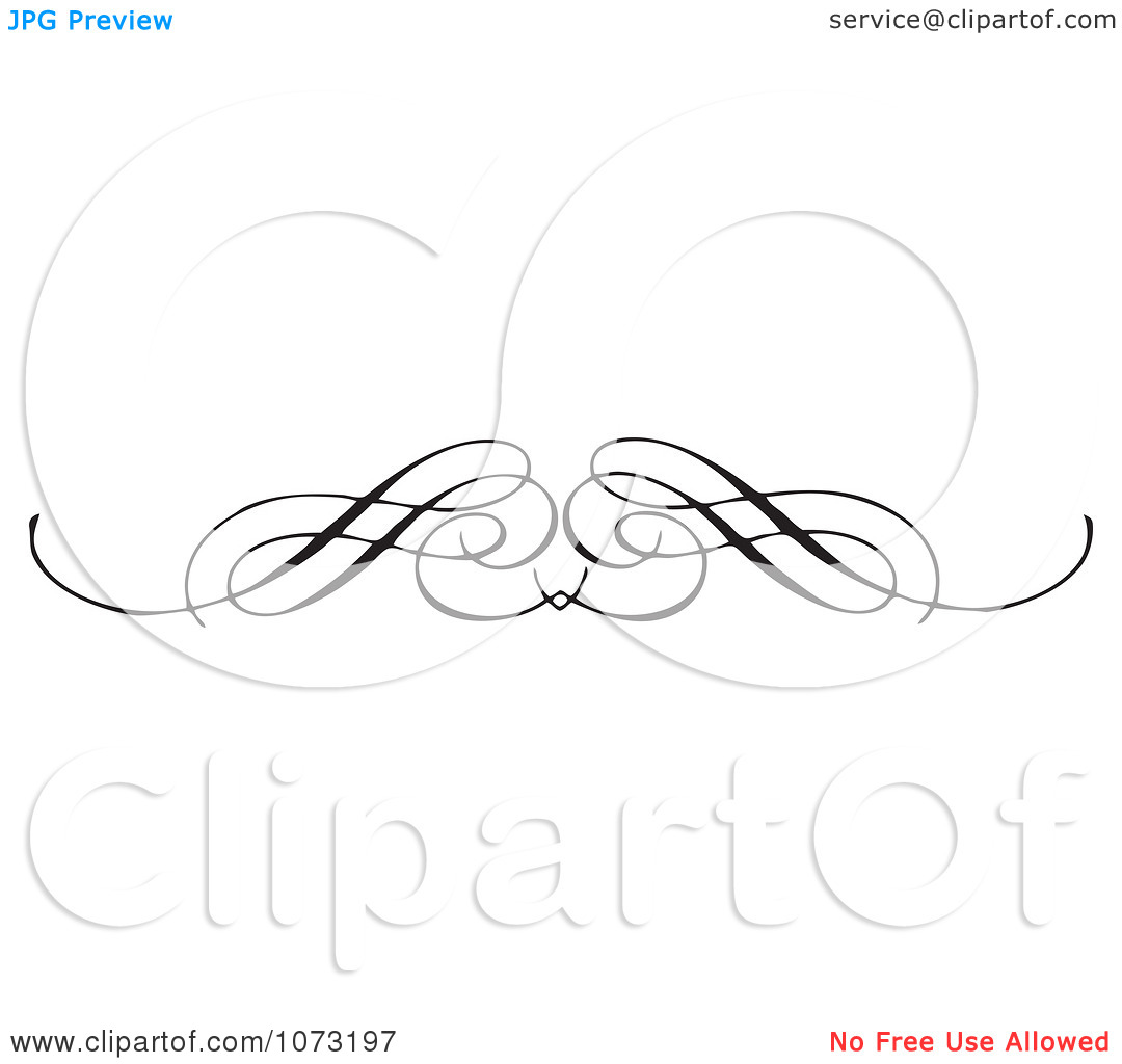 Clipart Intricate Black And White Swirl Border Rule 1.
