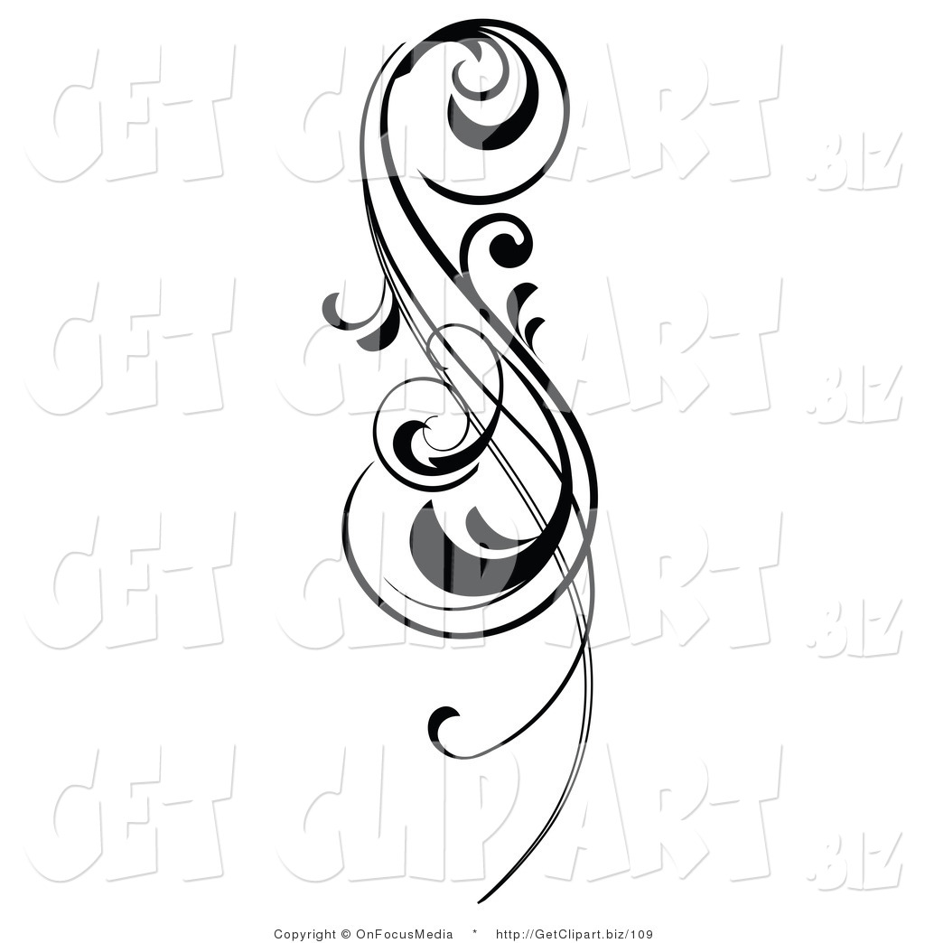 Clip Art of an Intricate Black Scrolling Design Element by.