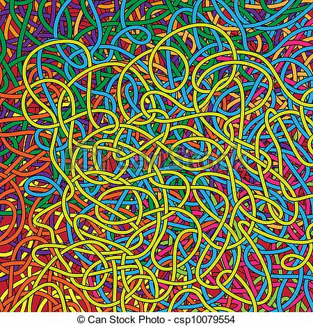 Clipart Vector of background with intricate rope rainbow of colors.