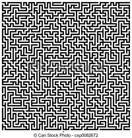 Clip Art of Intricate Maze.