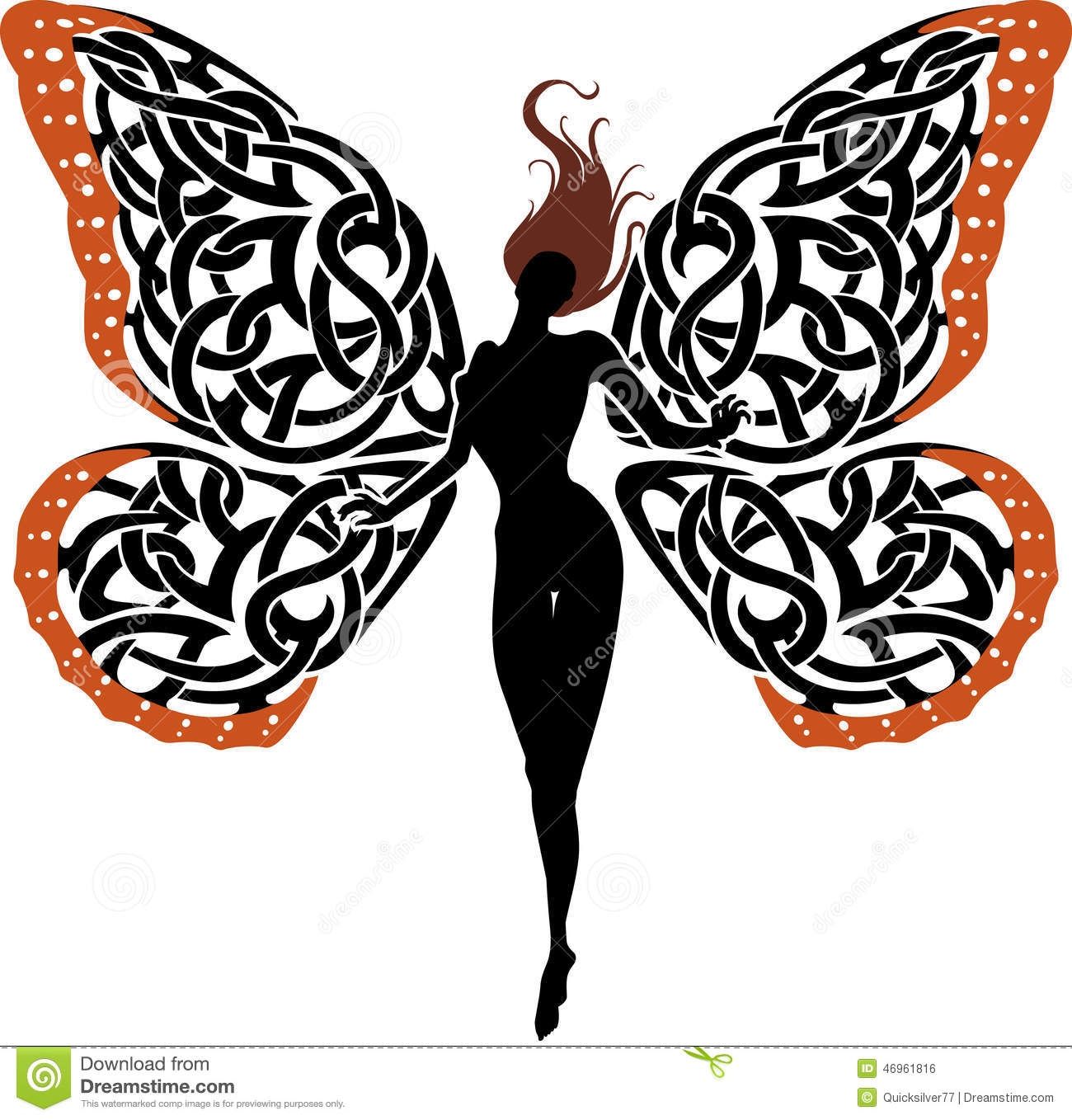 Abstract Fantasy Lady Butterfly Stock Illustration.