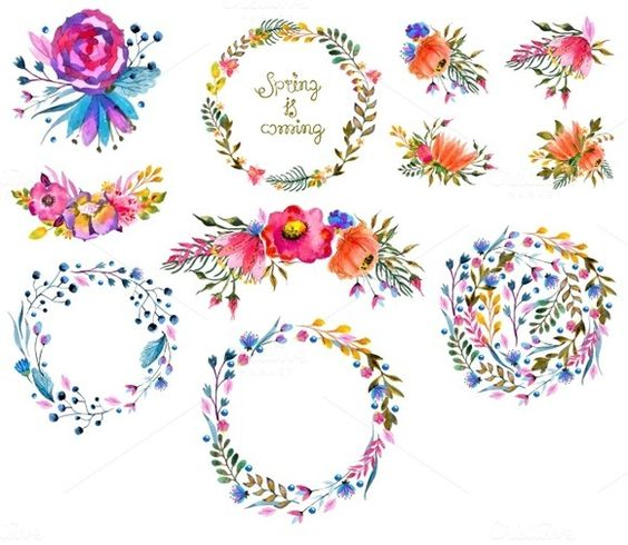 Big watercolor floral collection.