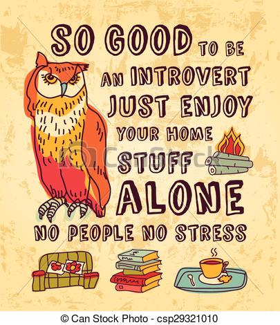 Vector Clip Art of Happy introvert concept art color sign.