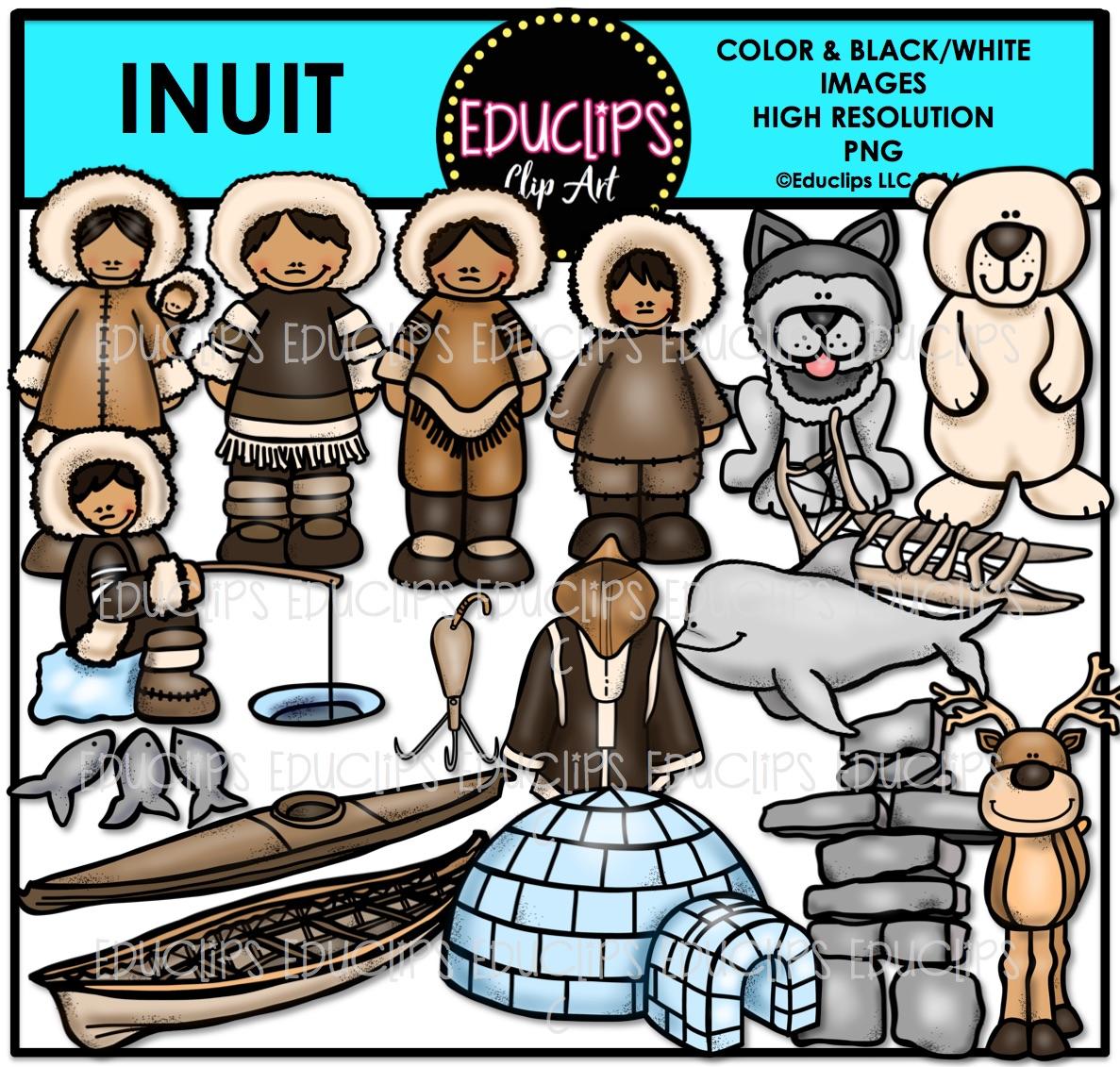 Inuit Clip Art Bundle (Color and B&W).