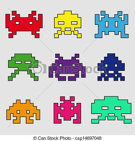 EPS Vector of space invaders color.