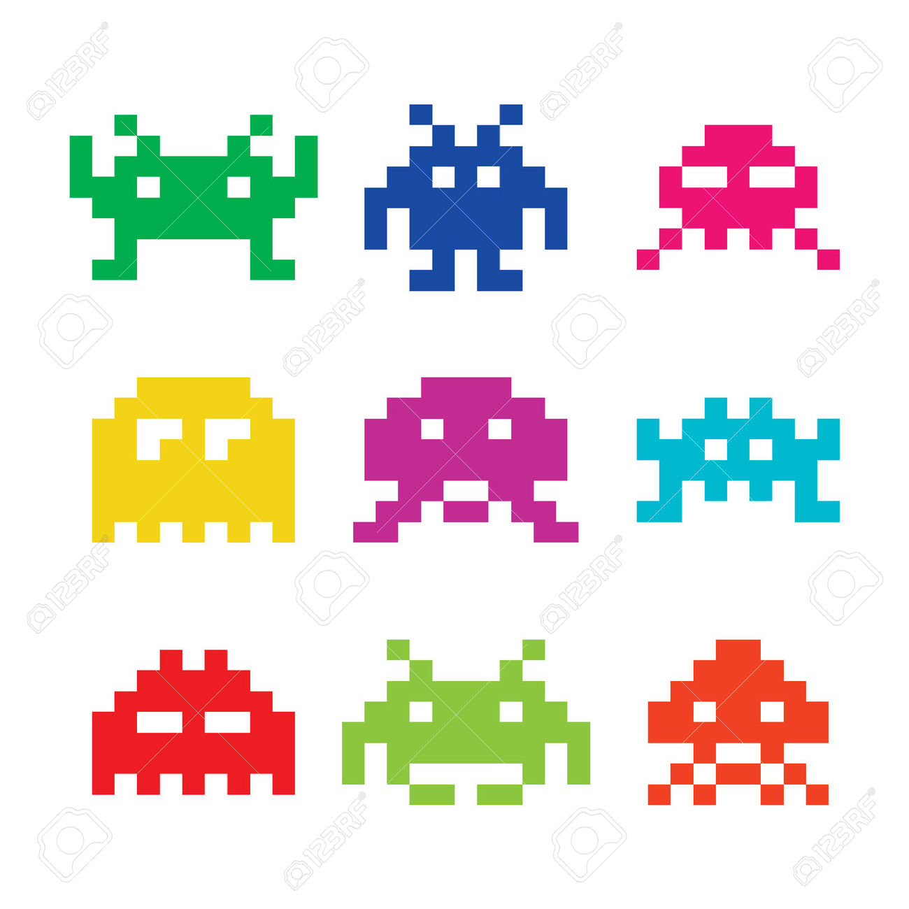 Space invaders clipart.