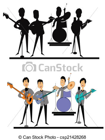 Clip Art Vector of sixties british invasion.