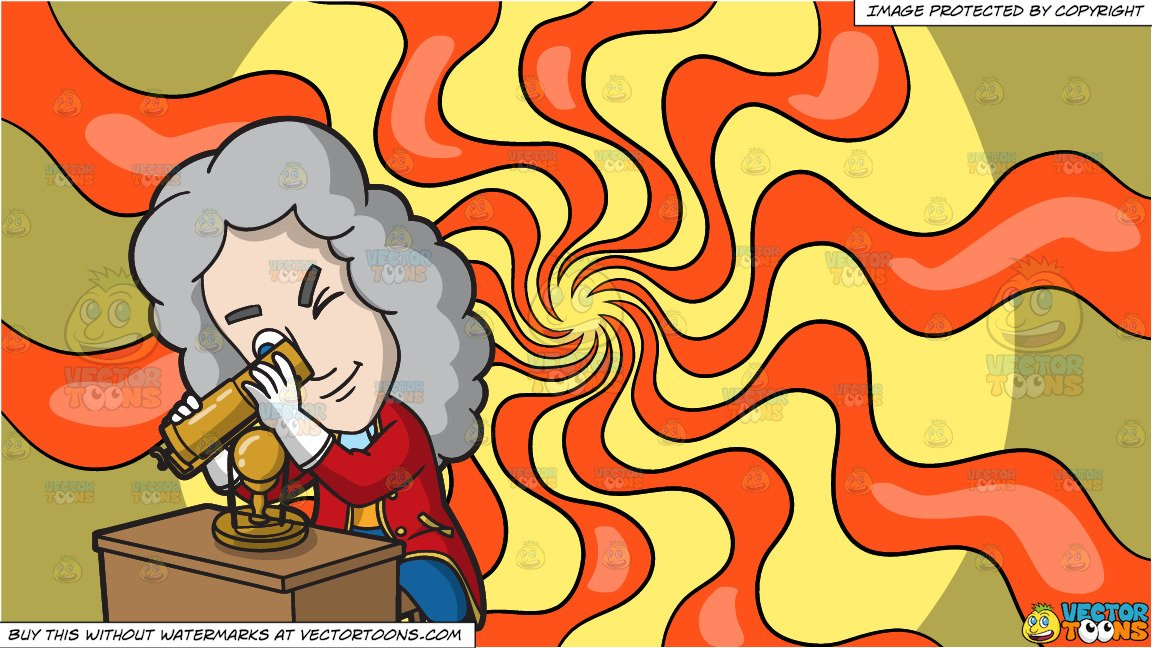 Isaac Newton Inventing A Reflecting Telescope and A Psychedelic Warp Ribbon  Background.
