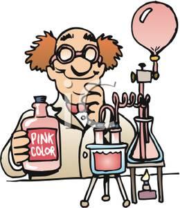 Clipart Picture: A Mad Scientist Making Bubblegum.