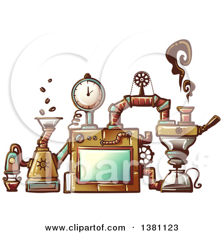 Clipart of a Steampunk Coffee Maker Invention.