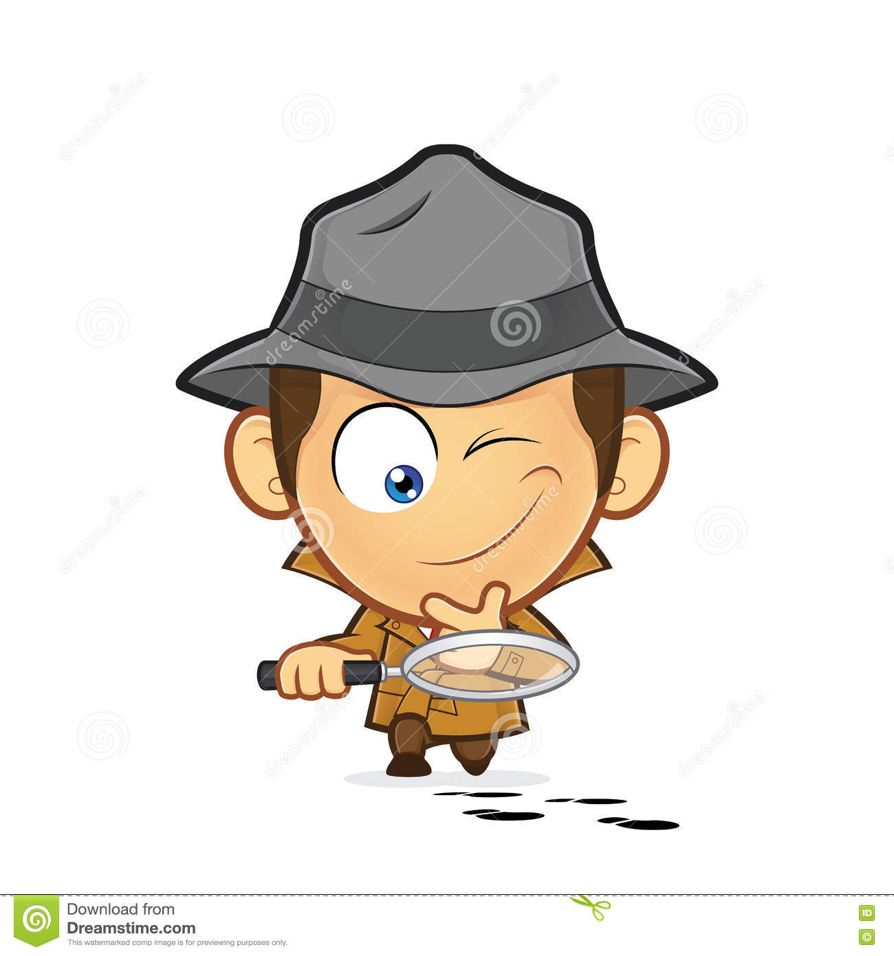 Detective Investigating A Track Of Footprints Stock Vector.