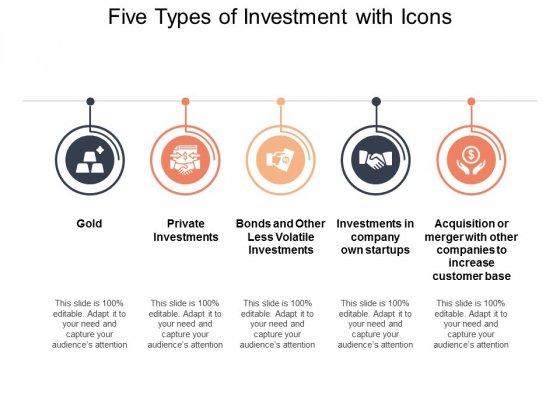 Five Types Of Investment With Icons Ppt PowerPoint.