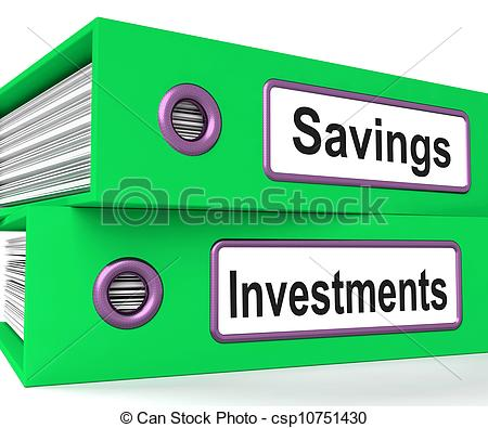 Drawings of Investments And Savings Files Showing Growing Wealth.