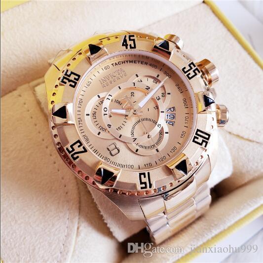 Swiss cosc brand INVICTA LOGO Very large rotating dial super quality Men\'s  watch Luxury brand Tungsten steel Multifunction Gold quartz watch.