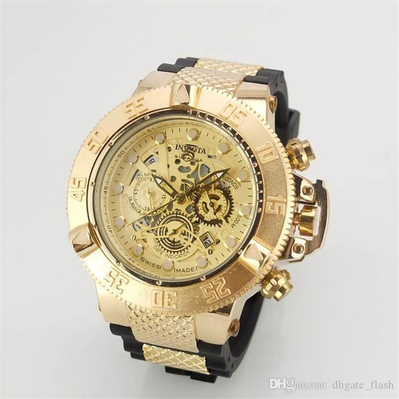 New Arrival Swiss Brand INVICTA LOGO Rotating Dial Outdoor Sports Men Watch  Silicone Quartz Watch All The Functions Work Diamond Watches Best.