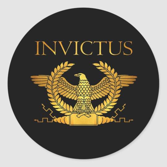 invictus logo classic round sticker.
