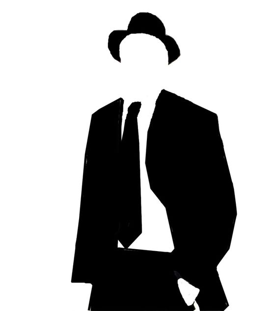 Invisible man in suit. Black and White Stencil.
