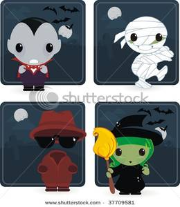 Vampire, a Mummy, the Invisible Man, and a Witch Clipart Image.