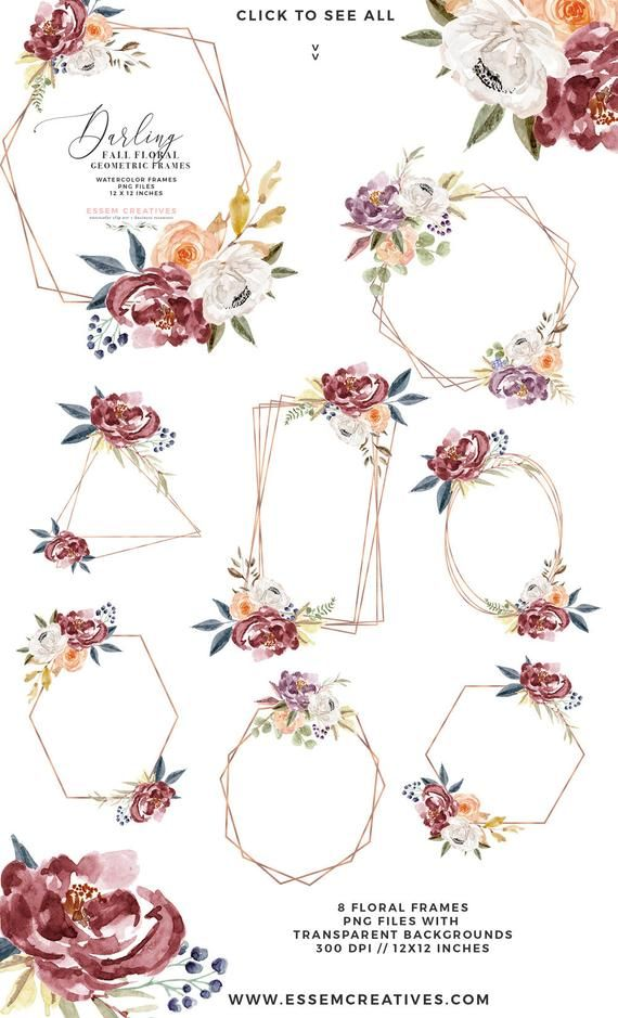 Fall Watercolor Flowers Clipart, Boho Chic Floral Wreaths.