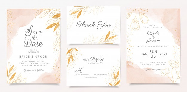 Elegant wedding invitation template Vector.