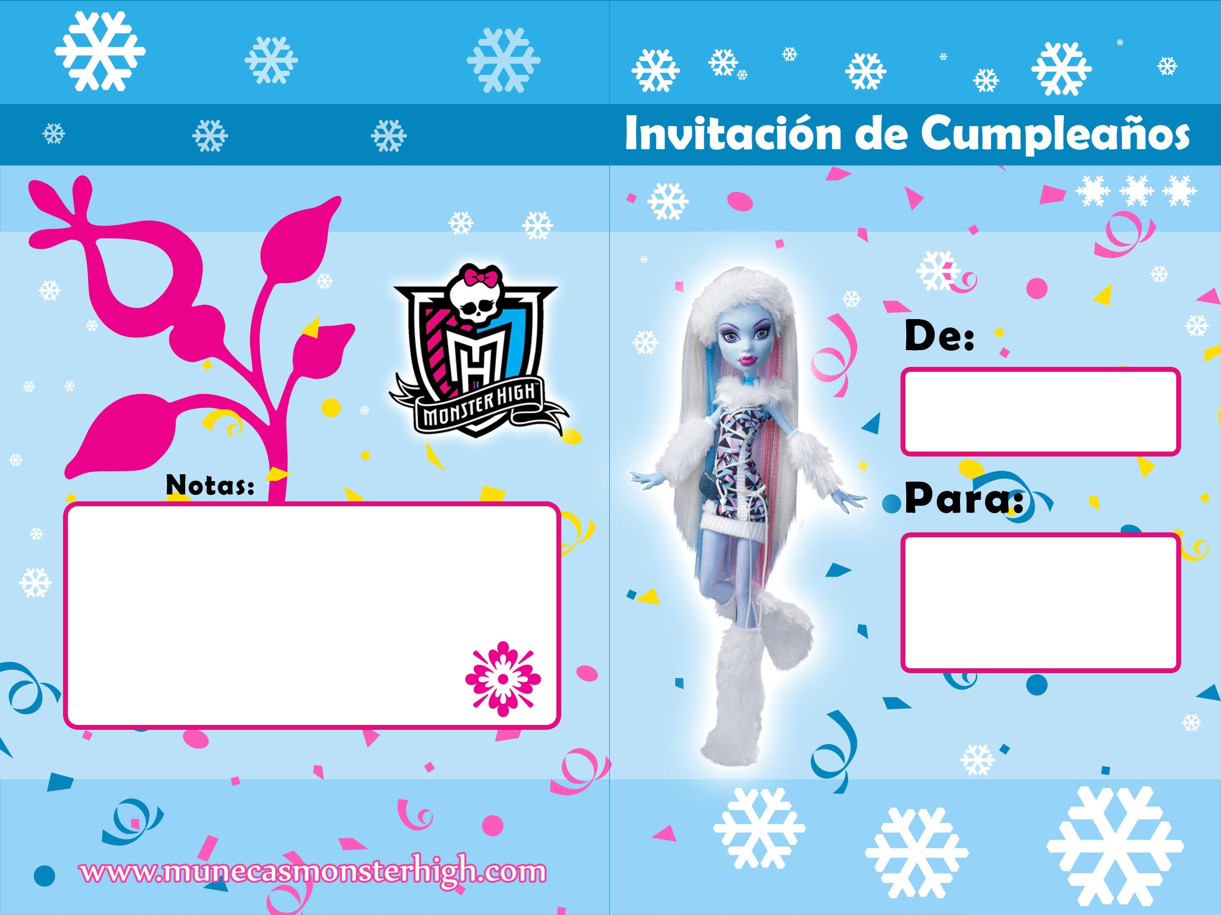 Invitaciones de cumpleaños para imprimir de Monster High.