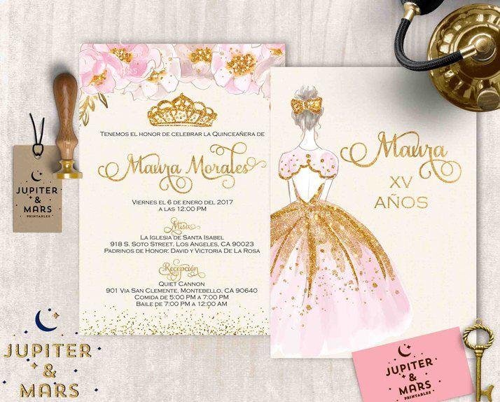 Pink and Gold Quinceañera Invitation Quinceanera Invitation.