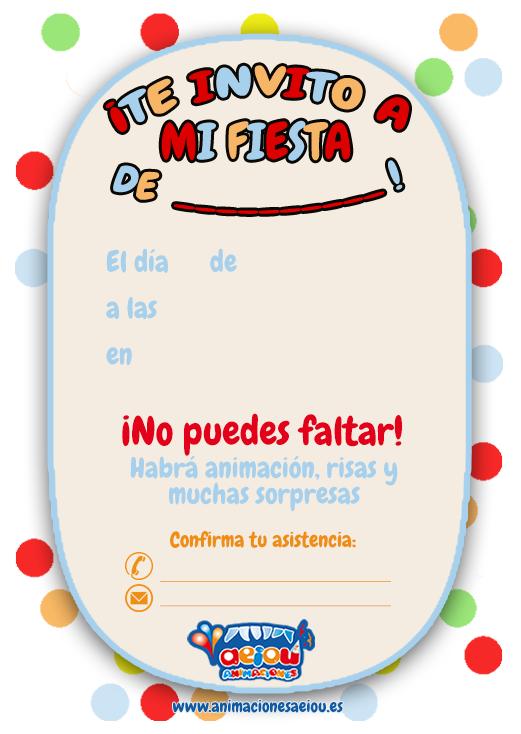 Invitaciones para fiestas de cumpleaños infantiles en Madrid.