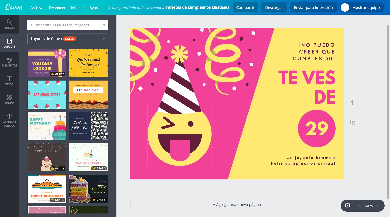 Crea tarjetas de cumpleaños chistosas online gratis.