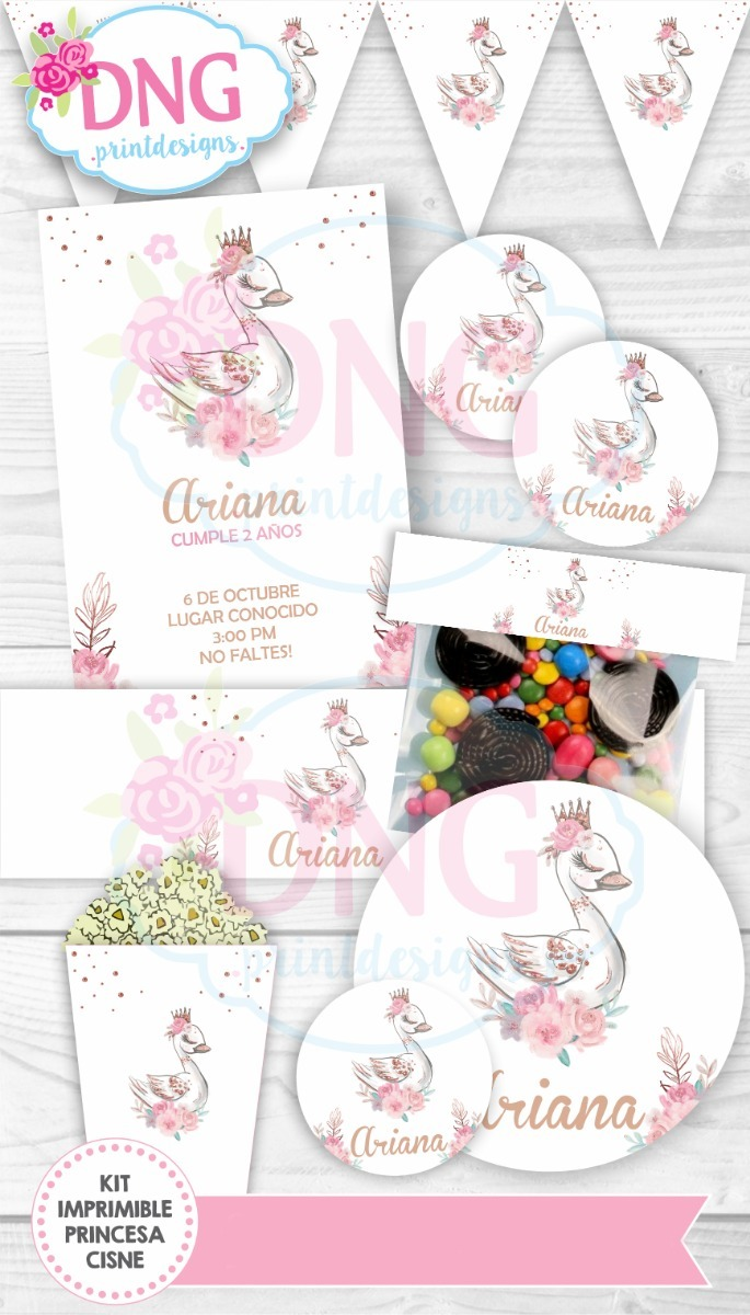 Kit Imprimible Invitaciones Candy Bar Png / Princesa Cisne.