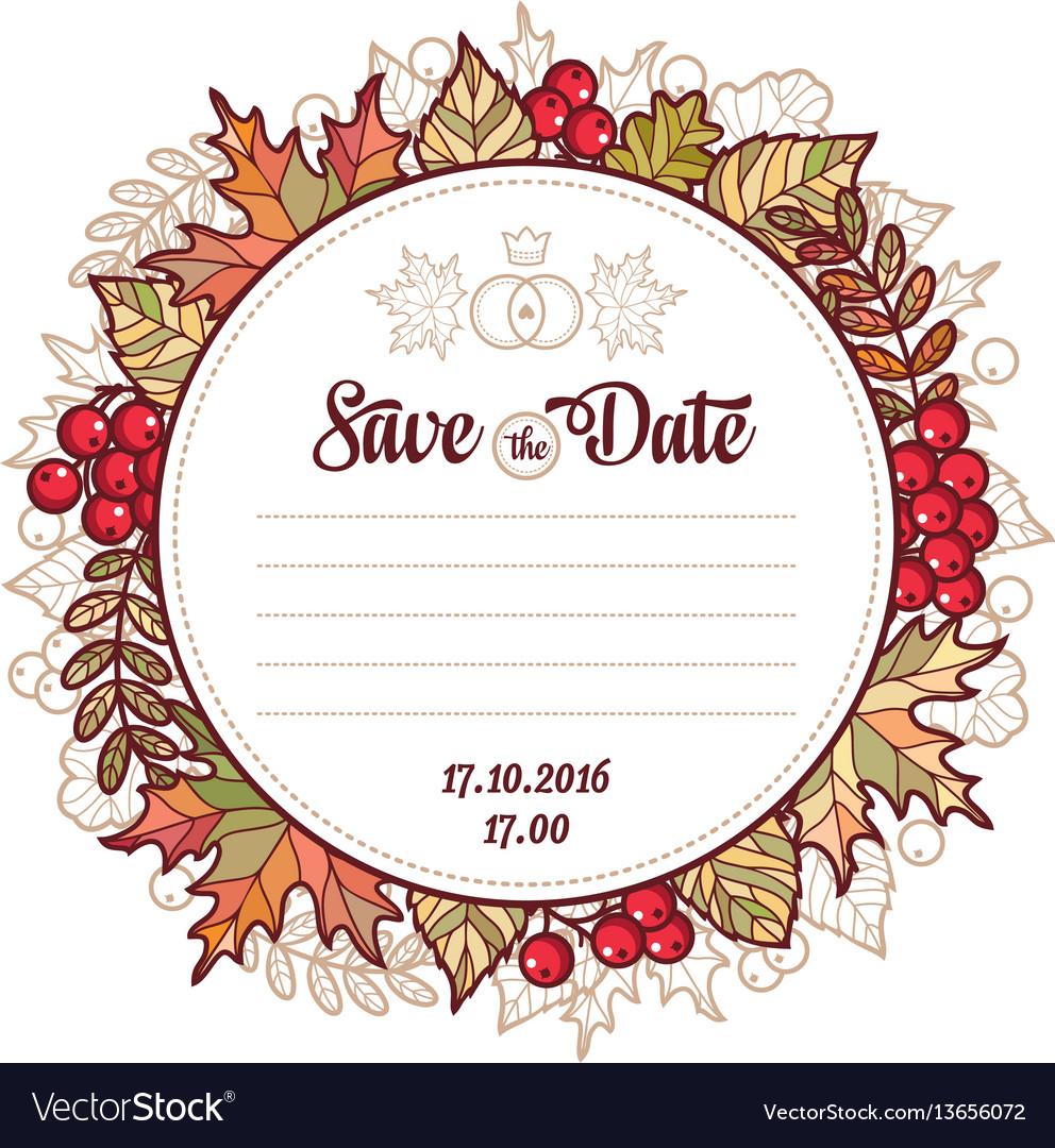 Wedding card template autumn background invitation.