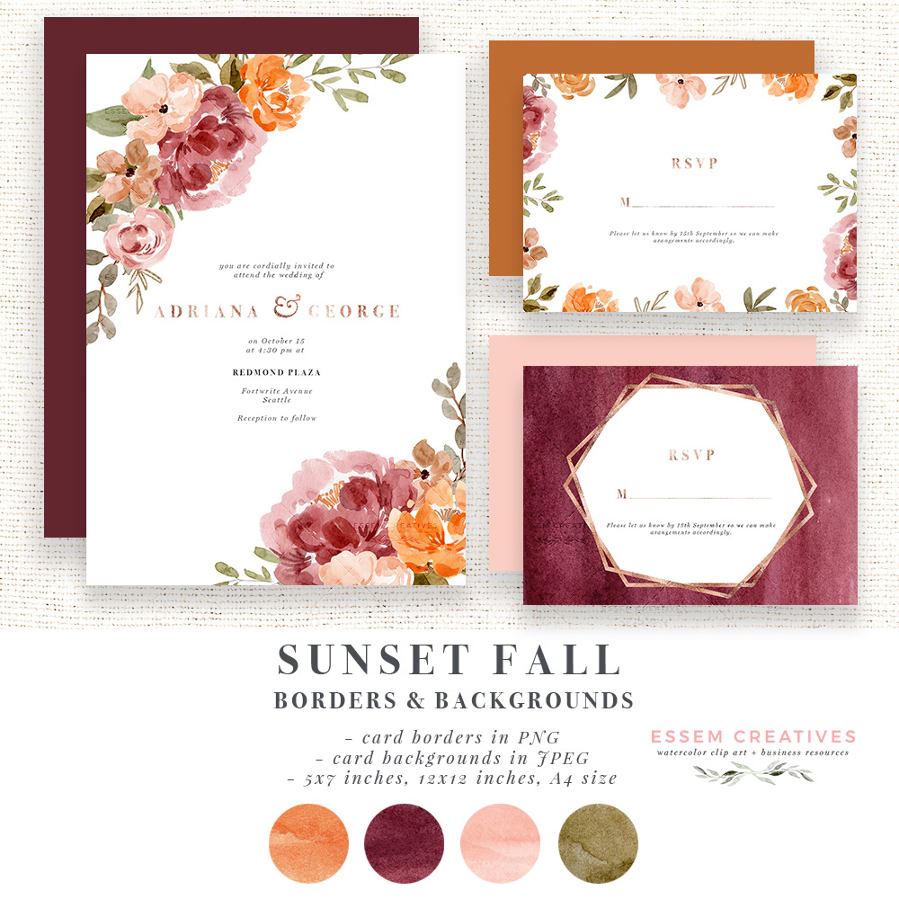Watercolor Fall Flower Border Clipart, Orange Rust Thanksgiving Invitation  Card Template.