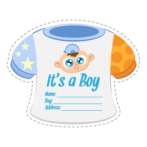 Baby clothes boy shower invitation card template.