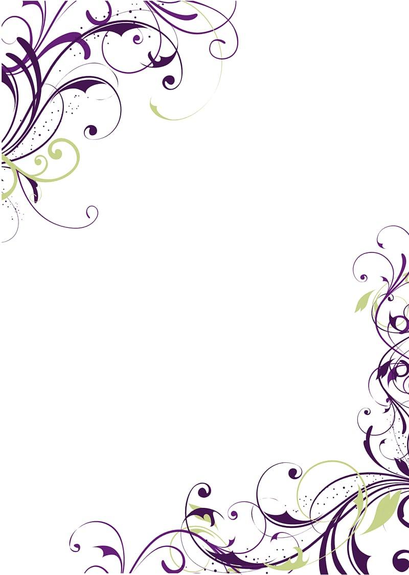 Purple and green illustration, Wedding invitation Greeting.