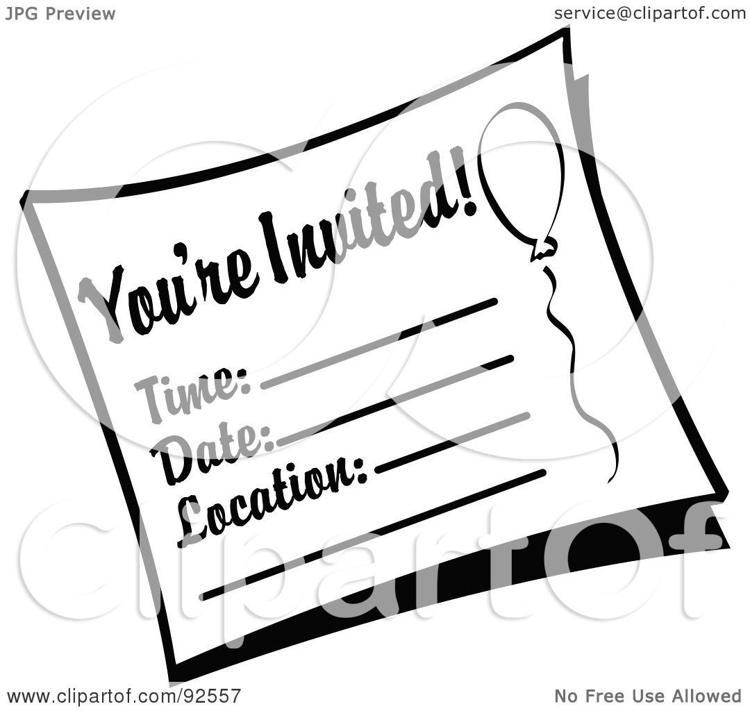 Invitation Clipart Black And White.