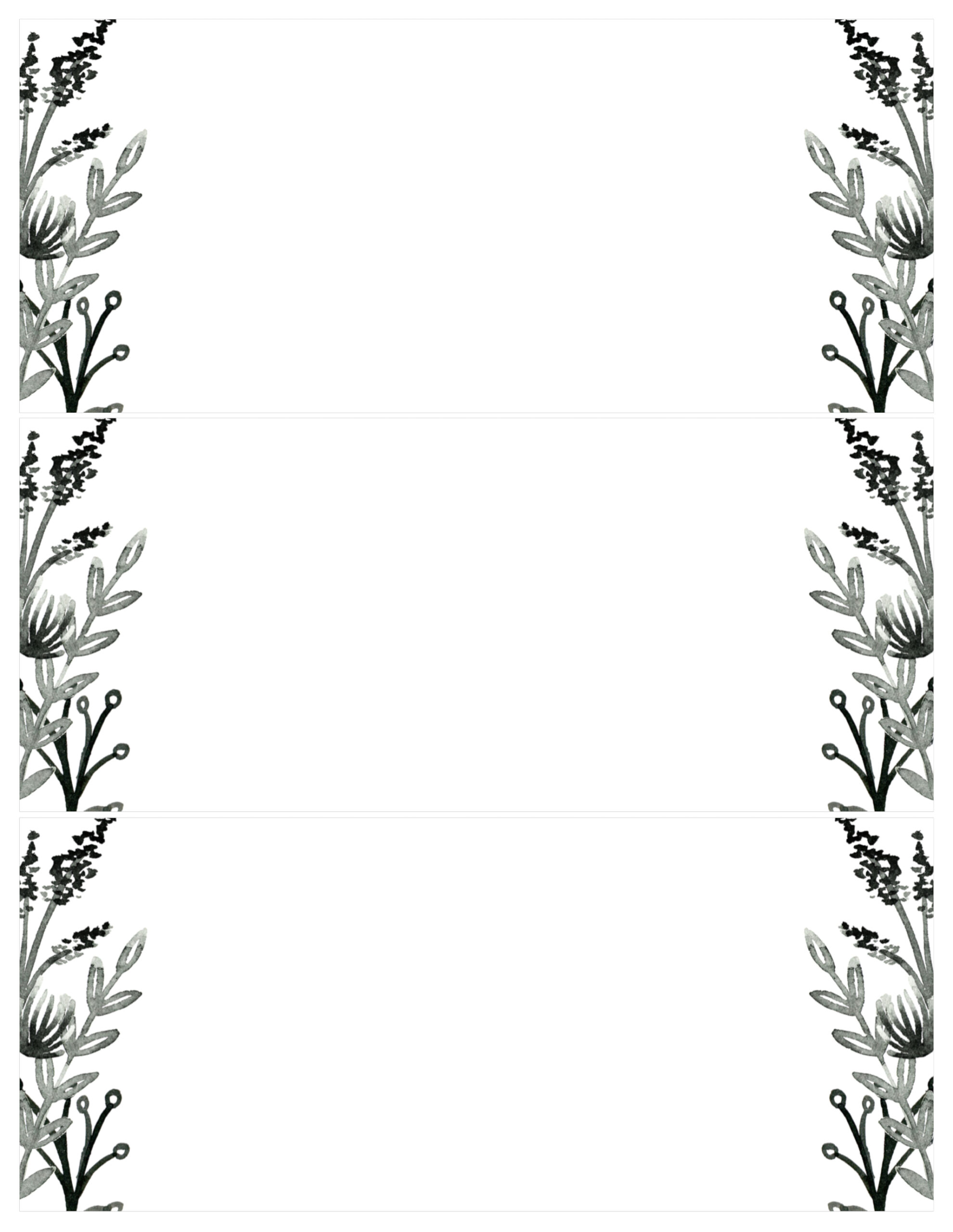 black and white blank invitation templates.