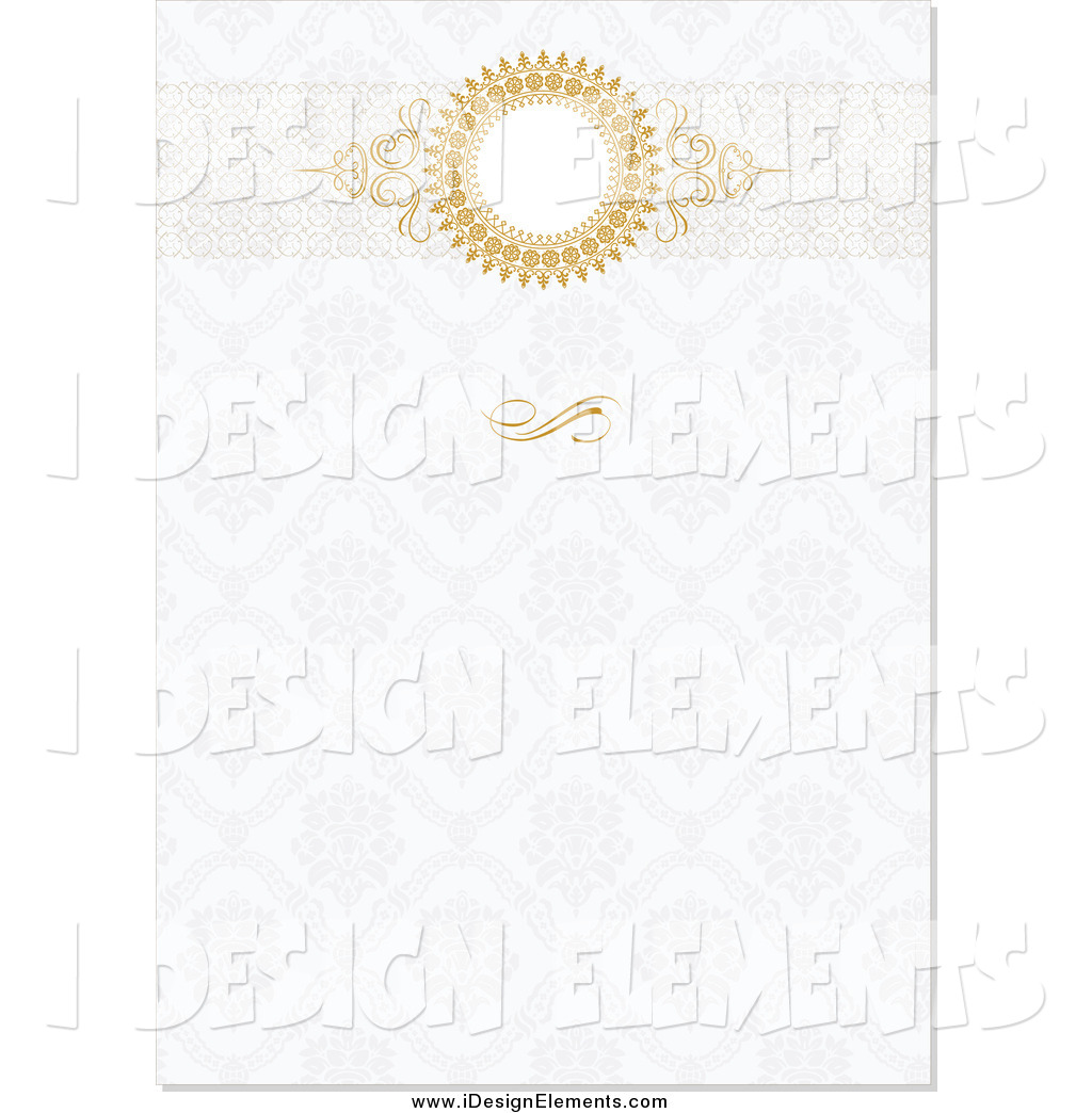 Clip Art of a Golden Round Header on a Floral Pattern Invitation.