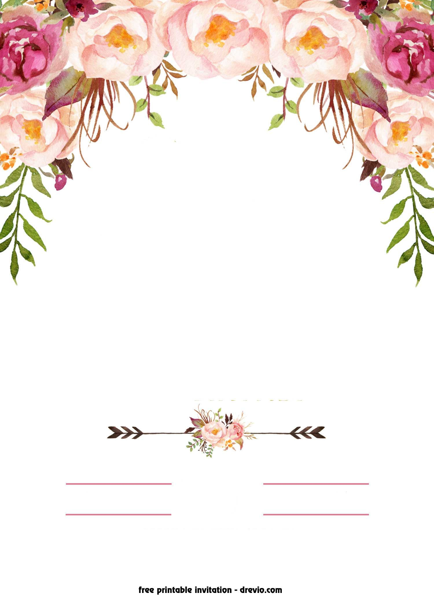 FREE Printable Boho Chic Flower Baby Shower Invitation.