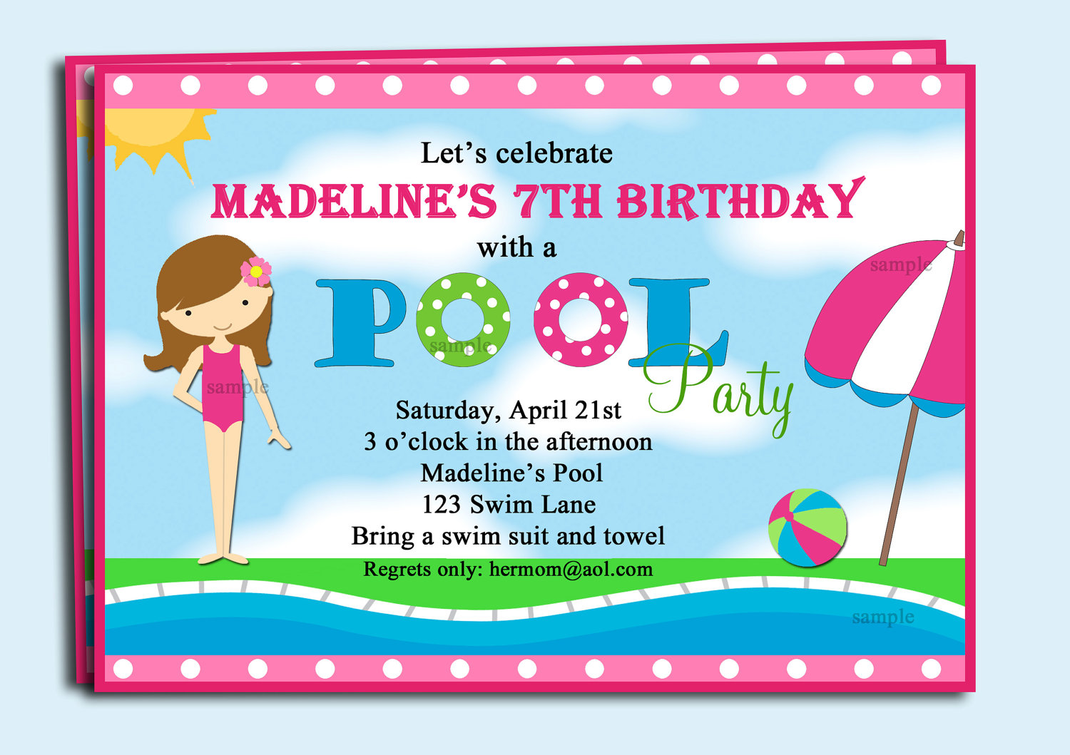 Pool Party Invitations Clipart.