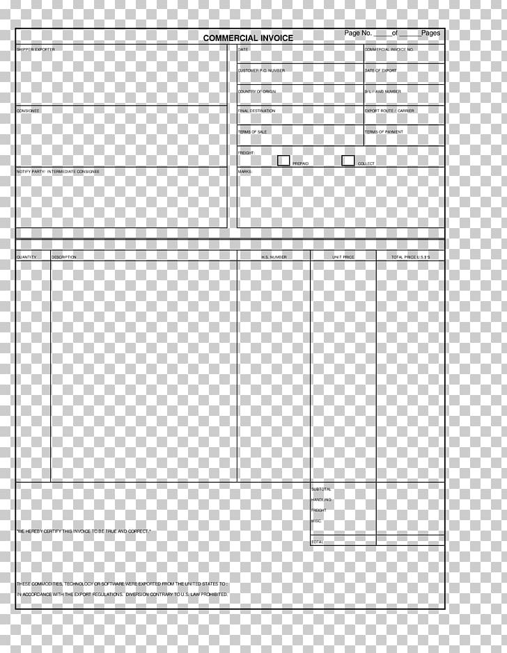 Document Commercial Invoice Template Form PNG, Clipart.