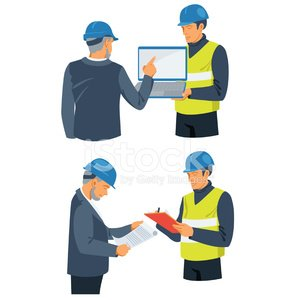 Businessman and foreman involved in construction project.