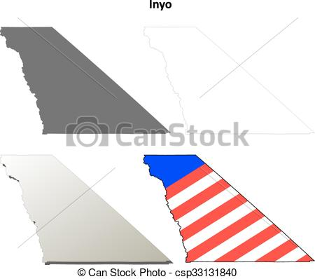 EPS Vector of Inyo County, California outline map set.