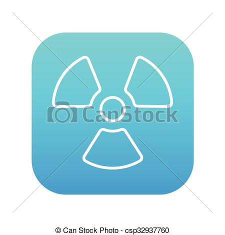 Clip Art Vector of Ionizing radiation sign line icon..